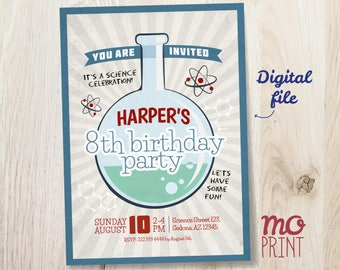 Science Birthday Invitation - Science invitation - 5x7 invite - printable digital file