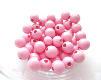25 wooden beads for attached pacifier 12mm - pink