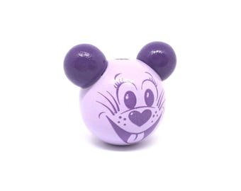 Wooden 3D mouse purple head bead