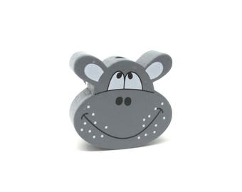 Dark grey Hippo head wooden bead