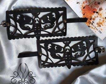 Black Laser Cut Leather Lace Leather bracelet Bracelet made from lace  Bracelet handmade gift