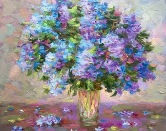 Small Original oil painting floral painted lilac contemporary fine art home living room hall nursery wall interior decor square