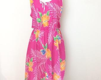 Vintage Suzy XL Hawaiian Dress Pink Floral Sleeveless Tiki Summer