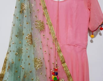 Baby Blue Sequins Embroidered net dupatta (scarf), bridal wear, party wear, suit, lehenga, anarkali