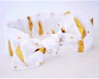 Gold Feather headband, Womens Headband, Adult Headband, Headband for Women, Girl Headband, Bow Headband, Girl, Women, Headband, White
