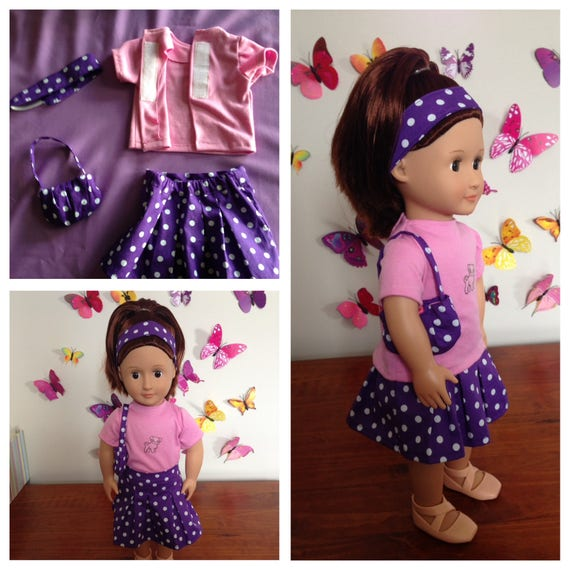 Purple Polk-A-Dot T-Shirt Made To Fit American Girl Doll Dolls Clothes