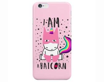 Unicorn Batcorn Cute Funny Pink Phone Case Cover for Apple iPhone 5 6 6s 7 8 Plus & Samsung Galaxy Customized Monogram