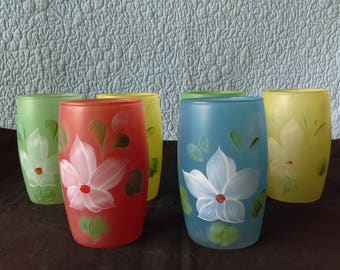 Vintage Hand-Painted Frosted Juice Glasses