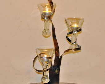 Iron candle holder wrought three candles