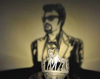 lampe Johnny Hallyday en métal (ombre et lumière)