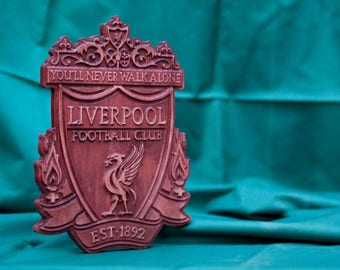 Handmade wood carving plaque emblem logo on Liverpool FC art perfect gift