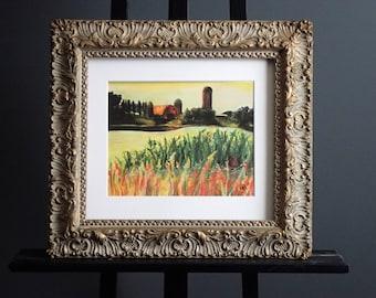 Farm in the Distance - Pastel Landscape Print