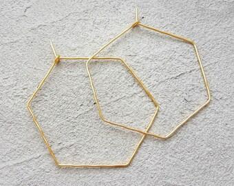 Hexagon hoop earrings gold, large Hexagon yellow gold earrings, geometric earrings, minimalist earrings, gold-plated wire earrings