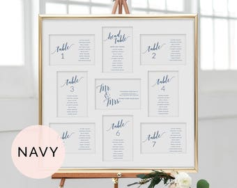 Navy Wedding Seating Chart, Wedding Seating Chart Template, Wedding Seating Cards, Printable Seating Cards, Printable Seating Chart Wedding