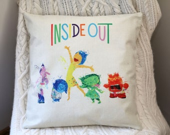 inside out joy sadness fear anger disgust disney watercolour inspired cushion cover 45 by 45 cm  gift