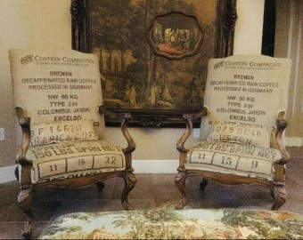SOLD! Custom Coffee Sack Upholstered Chairs, Burlap Accent Chair, Rustic, Farmhouse, Eclectic Chair, Wood Upcycled, Dining Room Chairs
