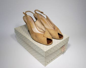 Gucci Tan Peep Toe Heels - from the 1950s - With Shoe Box - Made in Italy - Designer - Sling Back Pumps - Shoes
