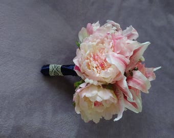 Peony..rose and tiger lily silk bouquet