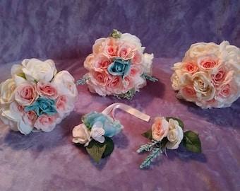 Bridal party flower set . silk