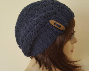 Cotton Slouchy Hat ,Navy blue, Spring ,Summer, Crochet Slouchy Hat, woman hat,Crochet Summer Hat ,Cotton Cloche Hat chemo Hat,