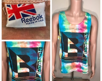 custom Rare // Reebok vintage tank top // muscle tshirt // adult size xl // 1980s 70s big reebok logo // tie dye faded distressed // vintage