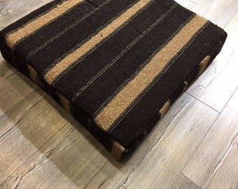 floor cushion wool pouf floor pillow wool pillow brown pouf traditional pouf bean bag kelim hocker ottoman pouf P15004