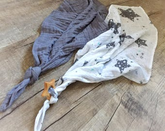 Muslin lovey / Security blanket/ Burp cloth /personalized lovey / monogrammed lovey/ Printed Blanket
