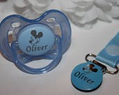 Personalised Mickey Mouse Avent Dummy Clip CAN BE STERILISED