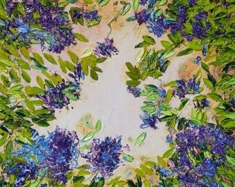 Syringa flowers oil painting Impressionist painting Floral oil painting Impasto painting  Green leaves Modern art Ukrainian art
