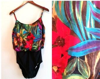 floral one piece blouson swimsuit tropical floral swimsuit, vintage floral swimsuit, 1970s hawaiian bathing suit women's large