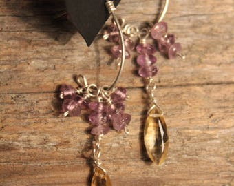 Amethyst Rondelle Cluster - Faceted Marquise Shaped Citrine - Sterling Silver Ear Post - Sterling Silver Wire