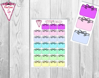 Printable Black Dotted Bow Boxes (Light Colors) - Functional Stickers w/Cut Line