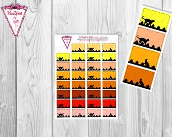 Printable Kitty On Fence Half Boxes - Functional Stickers w/Cut Line