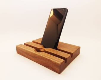 iPhone 7 and iPad Wood DUAL  Station. iPad Dock. iPhone 7 PLUS stand. 2 Slot  Station. Father's day iPad gift.