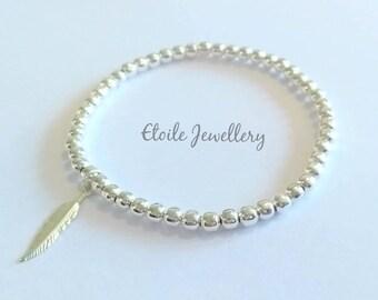 Silver Feather Bracelet, Silver Bracelet, Stretch Bracelet, Stacking Bracelet, Bracelets for Women, Silver Beaded Bracelet, Stocking fillers