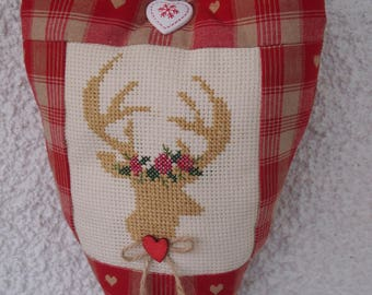 heart fabric, embroidered d ' deer