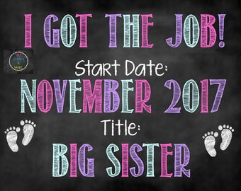 Got the Job Big Sister Announcement, Big Sister to Be, Pregnancy Announcement