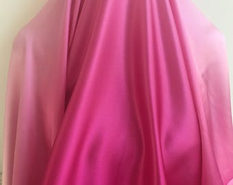 Raspberry Light Pink Ombre Silk - Sold by the Yard