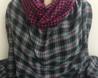 Reversible Woven Plaid in Magenta, Black, and Turquoise - Sold by the Yard