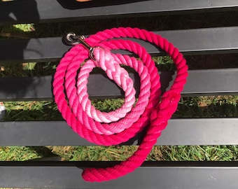 Fushia Ombre Rope Dog Leash