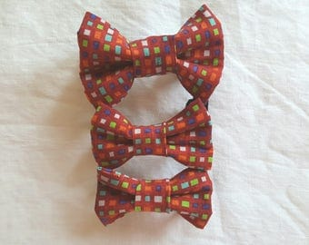 Pet Bow Tie - Red with Multi-Coloured Rectangles