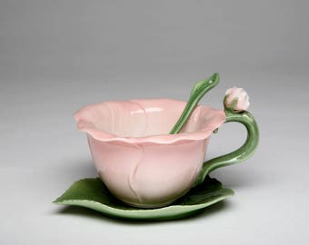 Hibiscus Cup and Saucer and Spoon Set (10395)