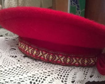 Bright red wool beret