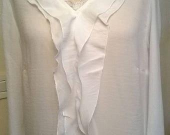 Long sleeve chiffon and lace blouse