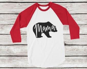 Mama Bear Raglan Baseball Tee, Holiday Mama Bear Shirt