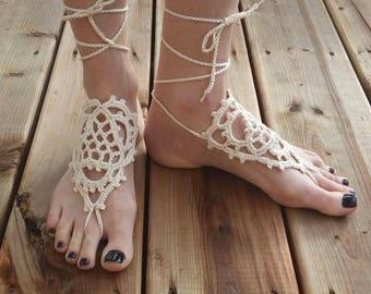 Crochet barefoot sandals - Cream