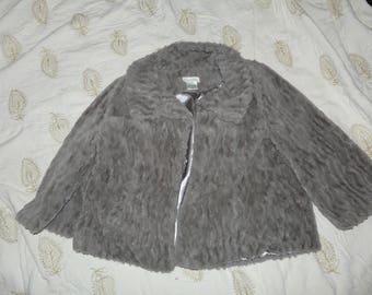 Super Soft Faux Fur Jacket, Taupe, Size S/M.