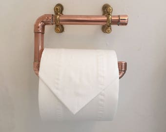 Copper toilet roll holder, copper pipe, industrial bathroom, rustic