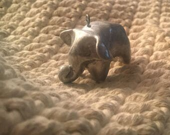 Elephant, silver elephant, totem, polymer, pendant necklace