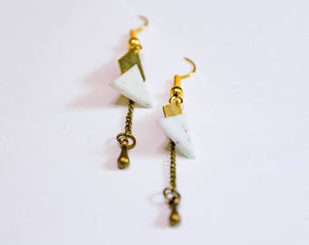 Geometric earrings | Brass and polymer clay | 100% handmade | limited series